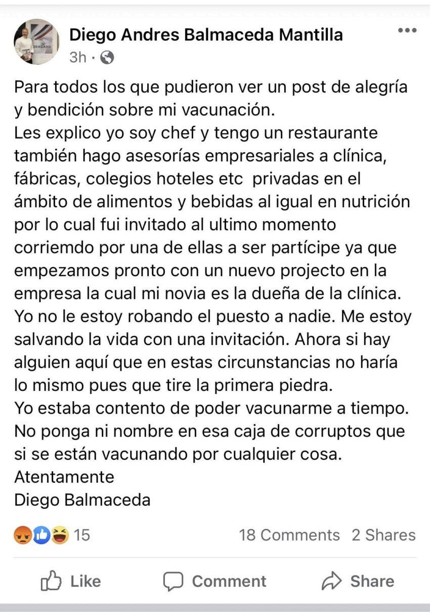 Texto que publicó Balmaceda para justificar la dosis recibida.