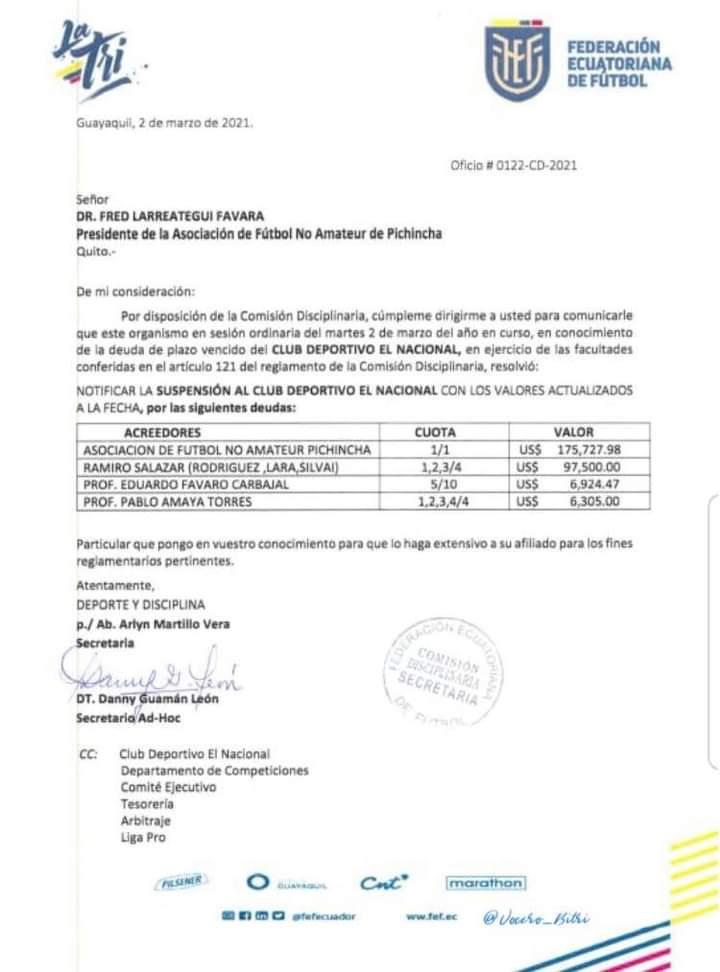 Comunicado oficial de la FEF hacia El Nacional donde manifiesta la suspensión del club por deudas.