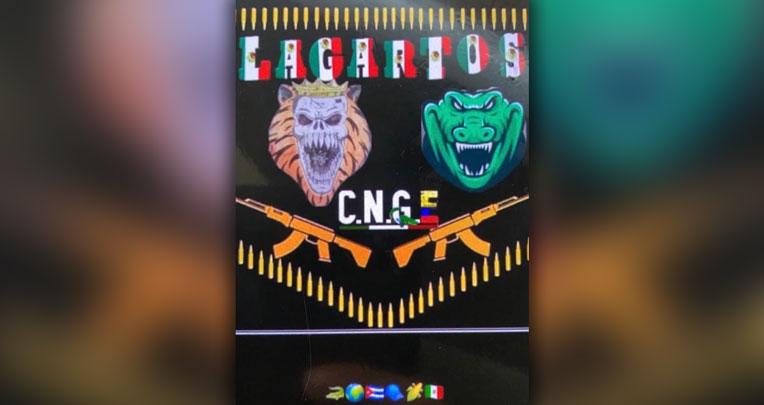 En la Penitenciaría del Litoral hay un mural con los símbolos de las bandas Los Lobos y Los Lagartos y del cartel JNG.