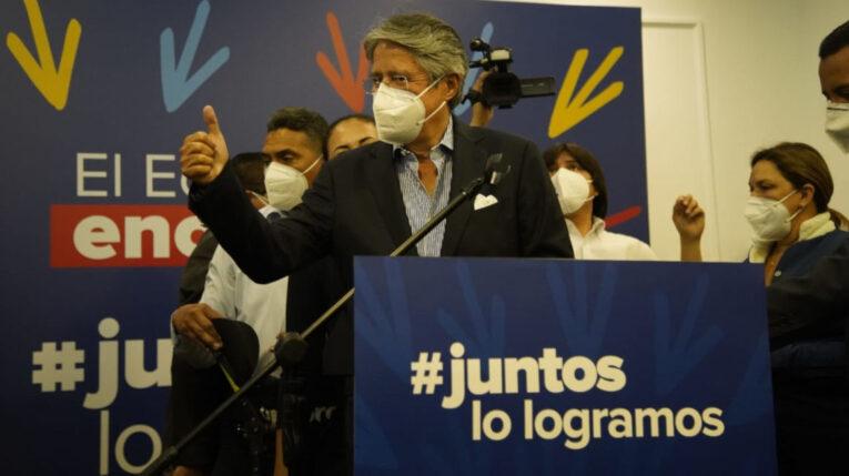 Rueda de prensa del presidente electo, Guillermo Lasso, en Quito. 12 de abril de 2021