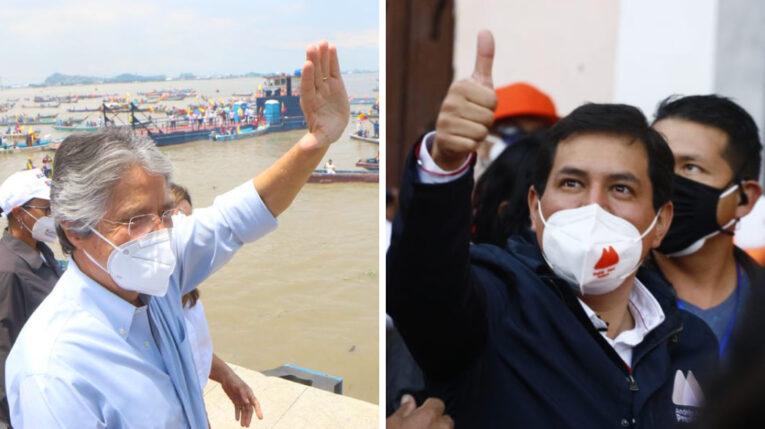 Los candidatos Guillermo Lasso y Andrés Arauz durante sus cierres de campaña el 8 de abril de 2021.