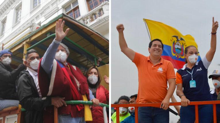 Guillermo Lasso, candidato de Creo, y Andrés Arauz, del correísmo, en el cierre de sus campañas. 7 de abril de 2021.