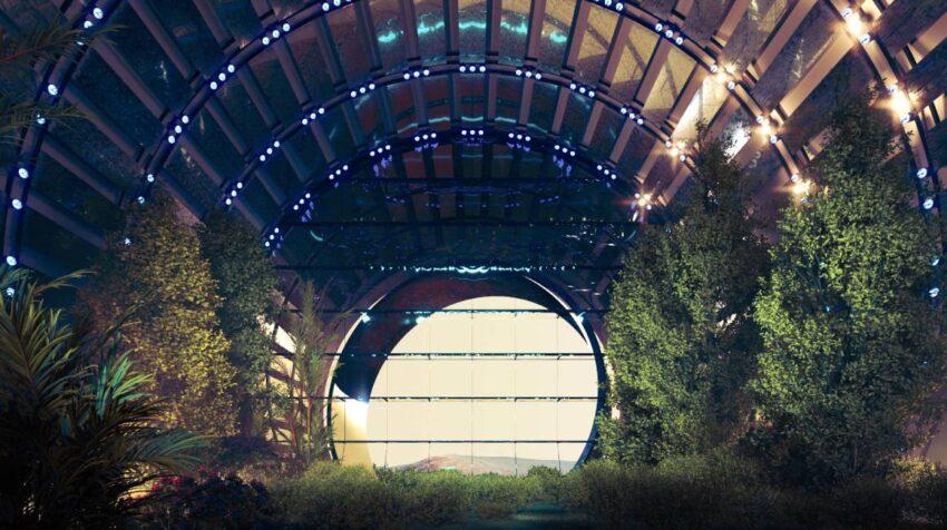 Túneles que conectarán los distintos edificios en la ciudad en Marte.