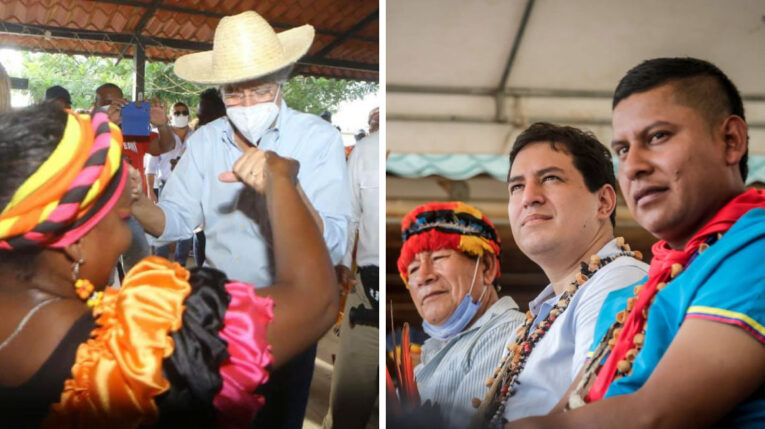 El candidato de Creo, Guillermo Lasso; y el presidenciable de Unes, Andrés Arauz, durante actividades de campaña.
