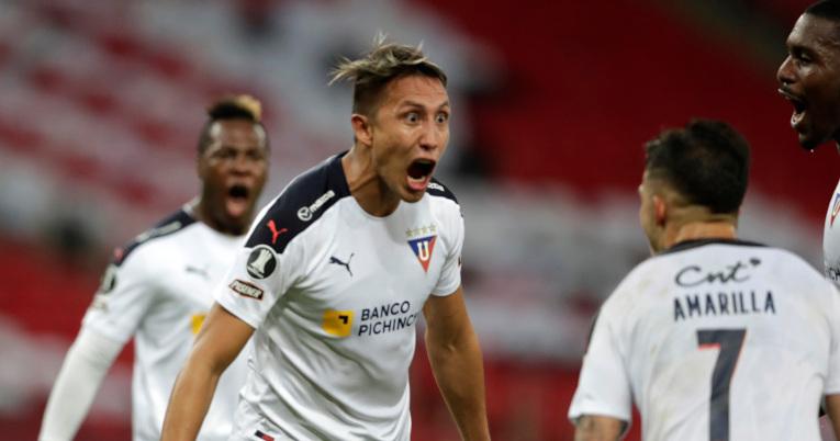 Franklin Guerra festeja uno de los goles de Liga ante Flamengo, el miércoles 19 de mayo de 2021.