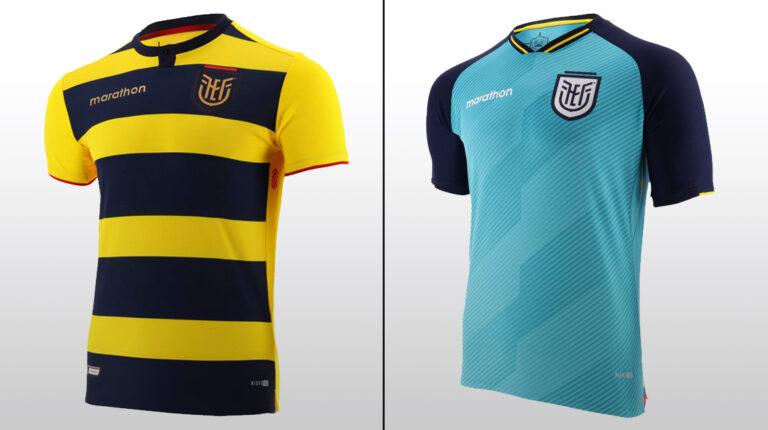 Las nuevas camisetas que la selección ecuatoriana usará en la Copa América 2021.