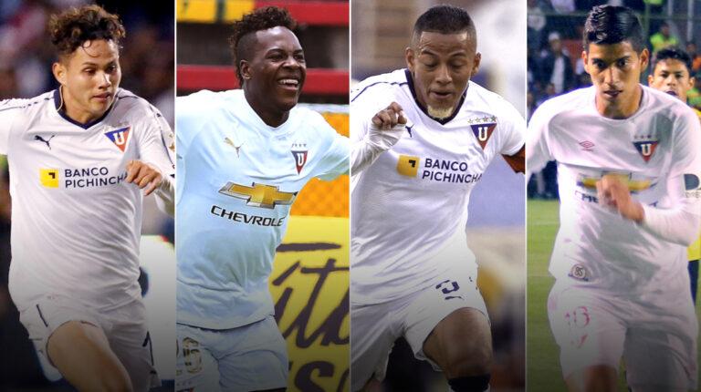 Jordy Alcívar, Jhojan Julio, Jefferson Intriago y José Francisco Cevallos, cuatro de los jugadores formados en Liga de Quito que más se han destacado.
