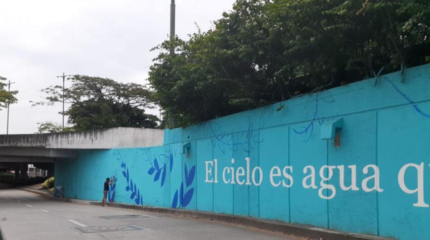 Uno de los murales pintados bajo un contrato del Municipio de Guayaquil, investigado por la Fiscalía General del Estado.