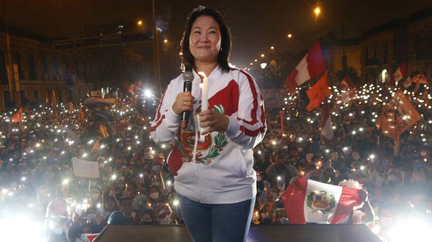 La candidata presidencial de Perú, Keiko Fujimori, participó de una concentración política en Lima, el 26 de junio de 2021.