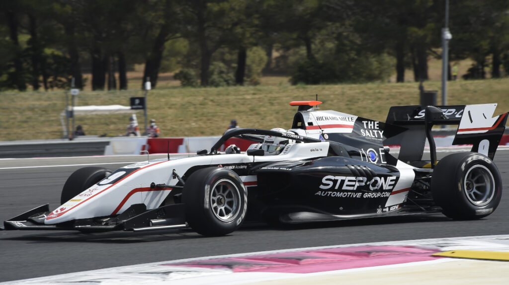 Leclerc gana la segunda carrera en Francia y Correa llega en el puesto 17