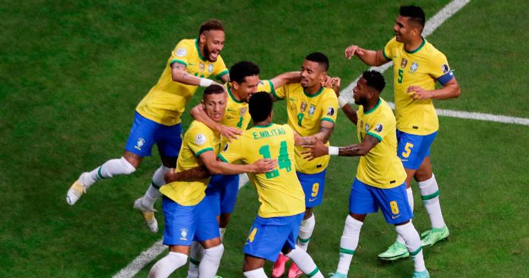 El equipo de Tite festeja el 1-0 ante Venezuela. El gol de Marquinhos fue el primero de la Copa América 2021.