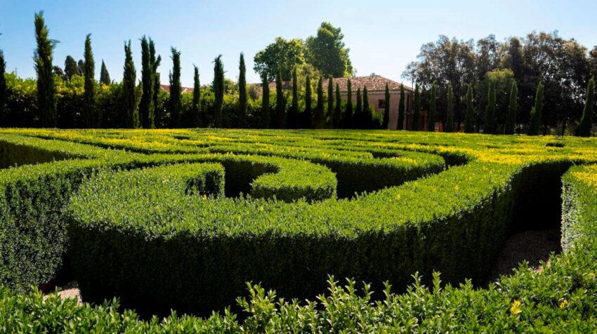 El laberinto dedicado a José Luis Borges en la isla de San Giorgio, en Venecia, el 12 de junio de 2021.