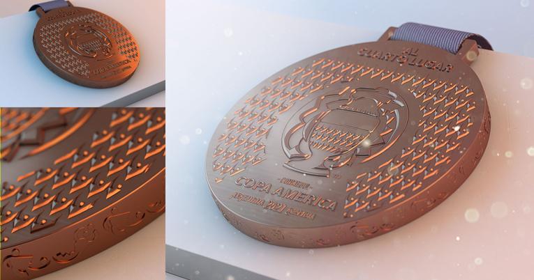 Diseño de la medalla para el cuarto lugar de la Copa América 2021.