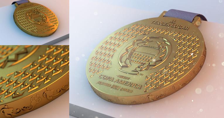 Diseño de la medalla para el tercer lugar de la Copa América 2021.