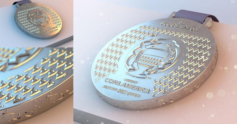 Diseño de la medalla para el subcampeón de la Copa América 2021.