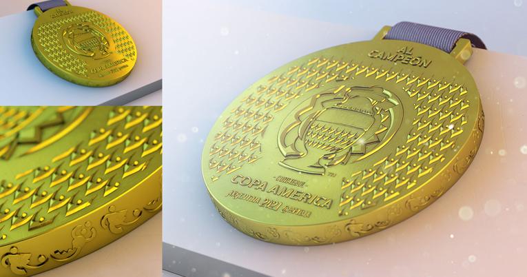 Diseño de la medalla al campeón de la Copa América 2021.