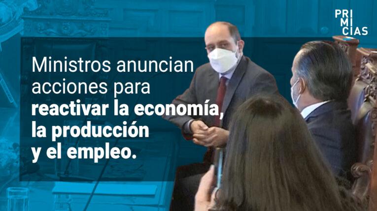 Ministros de producción, agricultura y trabajo.