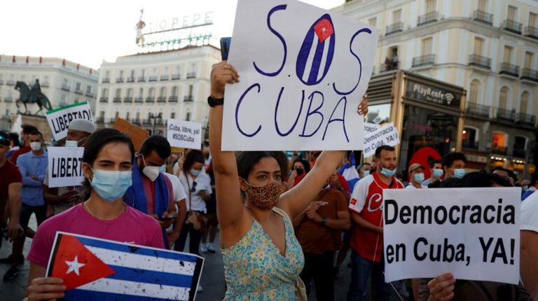 manifestación en Madrid Cuba Libre