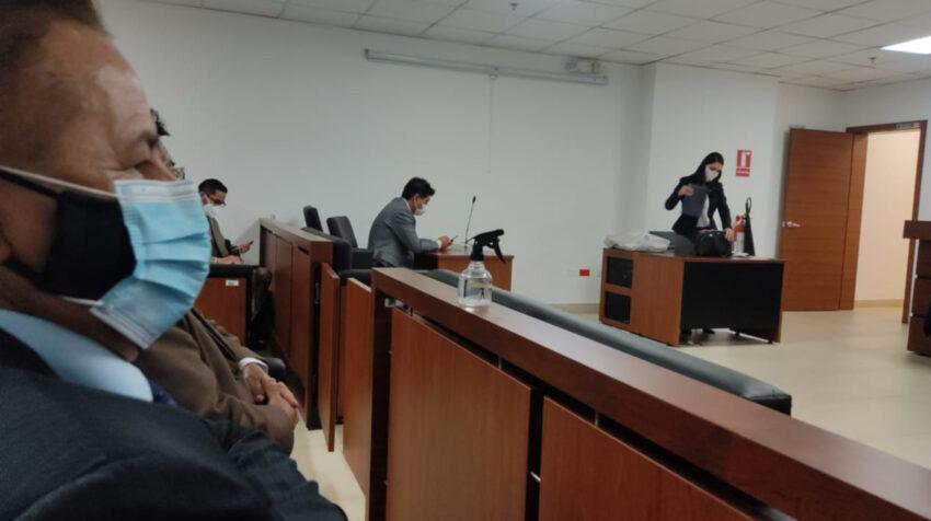 El alcalde de Quito, Jorge Yunda, en la audiencia que trata la ratificación o revocatoria de las medidas cautelares, el 19 de julio de 2021.