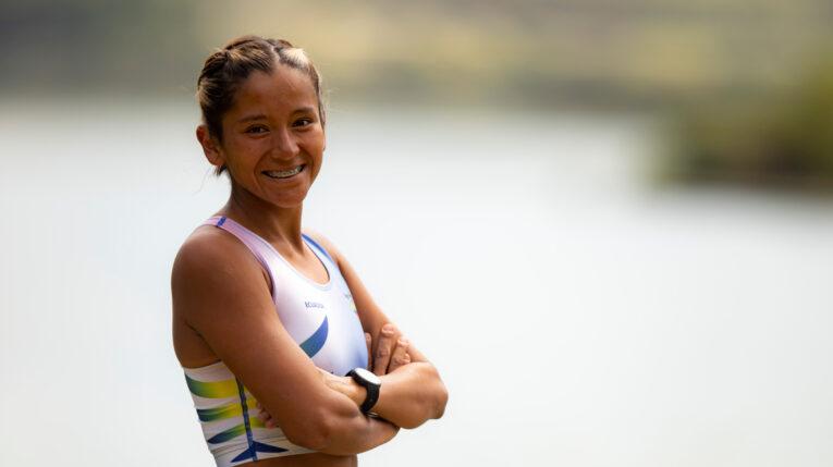 La marchista ecuatoriana Karla Jaramillo durante un entrenamiento, antes de competir en los Juegos Olímpicos de Tokio.