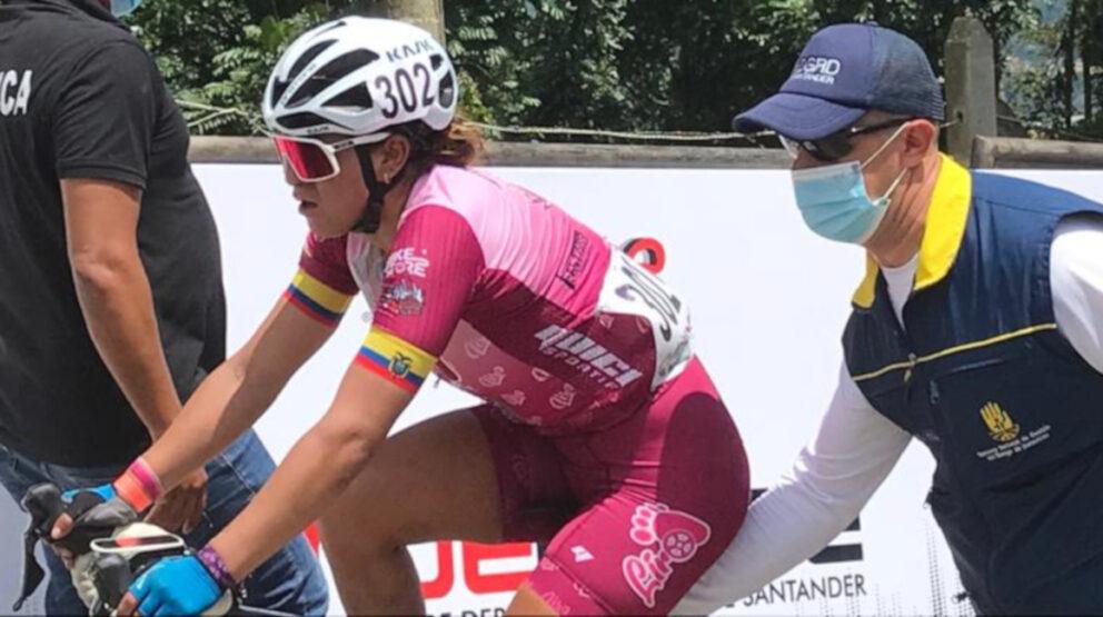 Miryam Núñez al final de la Etapa 1 de la Vuelta al Gran Santander, el jueves 29 de julio de 2021.