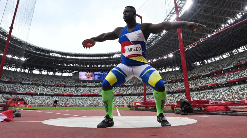 El esmeraldeño Juan Caicedo, durante su participación en el lanzamiento de disco, en los Juegos Olímpicos de Tokio, el jueves 29 de julio de 2021.