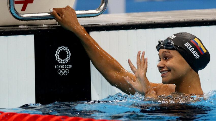 Anicka Delgado sonríe tras su participación en los 50 metros libre de los Juegos de Tokio, el 30 de julio de 2021.