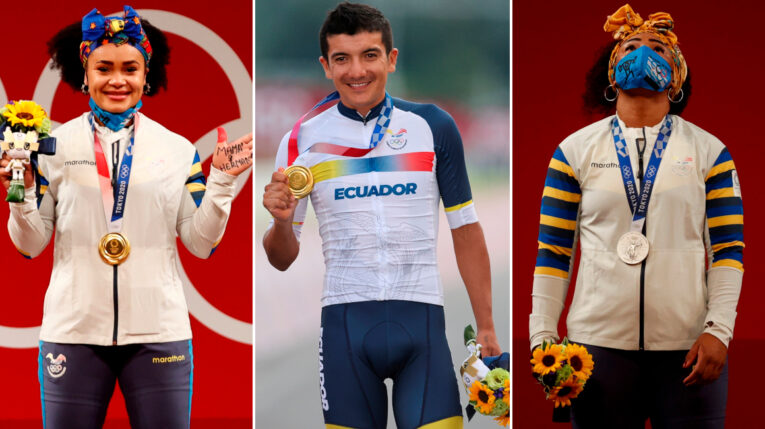 Neisi Dajomes, Richard Carapaz y Tamara Salazar, los tres ecuatorianos medallistas en los Juegos Olímpicos de Tokio.