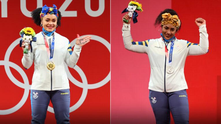 Las halteristas ecuatorianas Neisi Dajomes y Tamara Salazar con las medallas de oro y plata que lograron en los Juegos de Tokio.