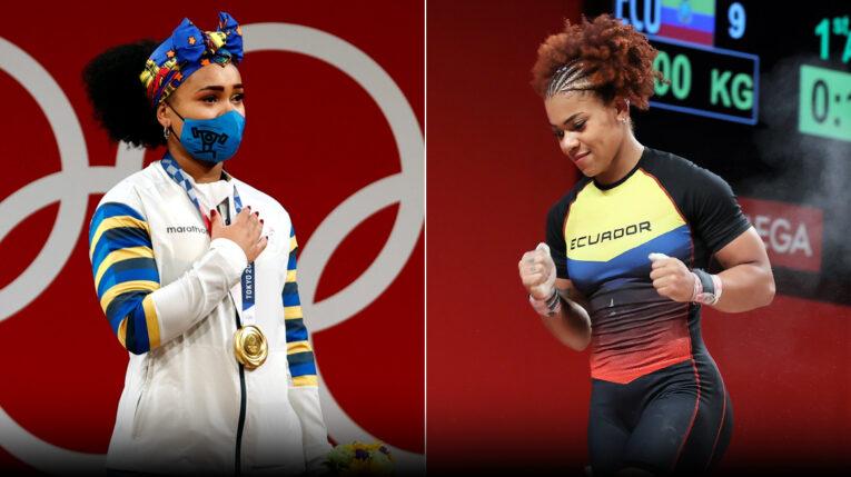 Las hermanaas Neisi Dajomes y Angie Palacios tras sus actuaciones en halterofilia, en los Juegos Olímpicos de Tokio.