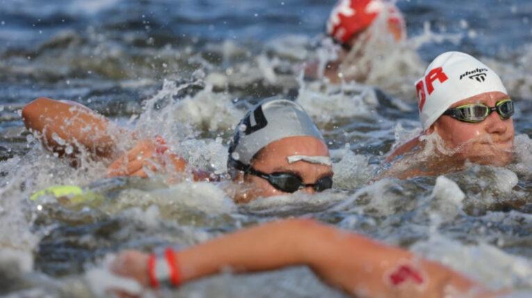 La ecuatoriana Samantha Arévalo durante la maratón acuática de los Juegos Olímpicos de Tokio, el miércoles 4 de agosto de 2021 (de Japón).