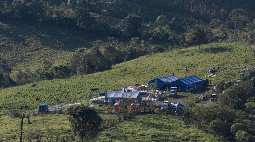 Una vista panorámica del nuevo campamento de Hanrine en la concesión Imba 1, el 4 de agosto de 2021.