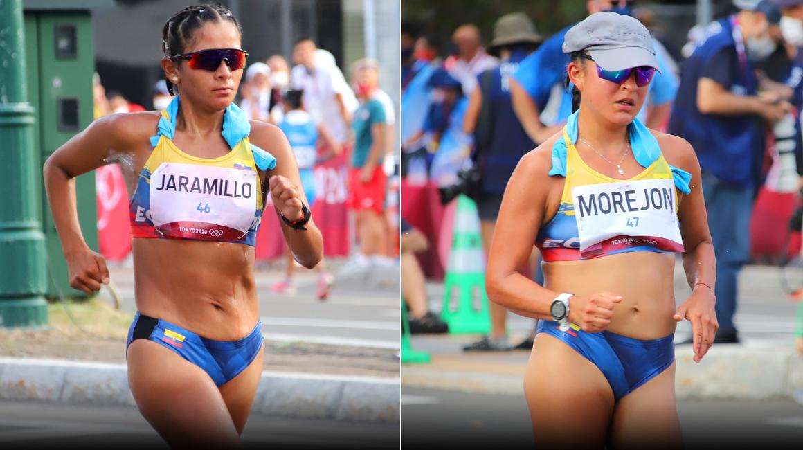 Karla Jaramillo y Glenda Morejón durante su participación en los 20 kilómetros marcha, en los Juegos Olímpicos de Tokio, el viernes 6 de agosto de 2021.