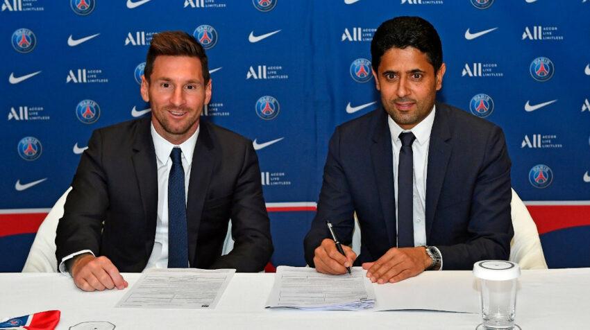 Lionel Messi firma su contrato por dos temporadas con el PSG, el 10 de agosto de 2021.