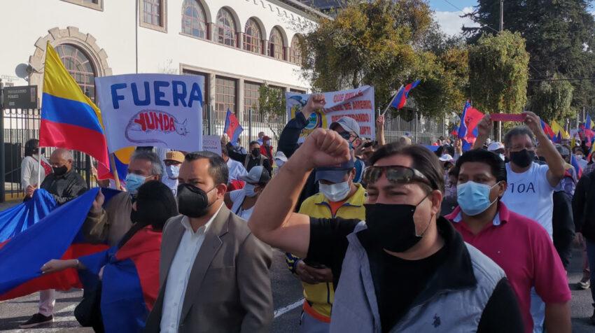 Marcha en contra del alcalde de Quito, Jorge Yunda, el 10 de agosto de 2021.