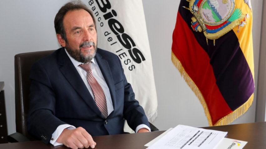 El vicepresidente del Biess, Marco Naranjo, durante una entrevista con PRIMICIAS, el 11 de agosto de 2021.