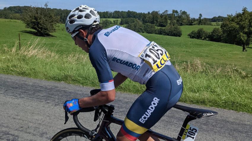El ecuatoriano Jordan Rodríguez, durante la Etapa 1 del Tour de l'Avenir, el 14 de agosto de 2021.