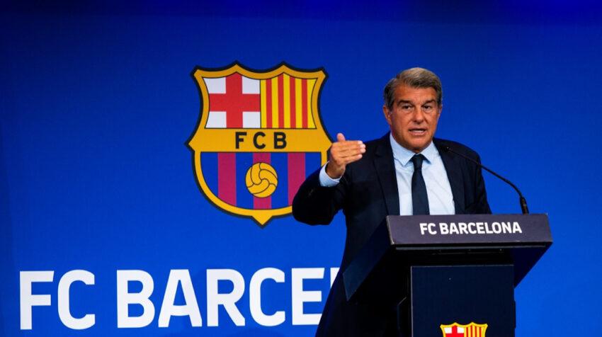 El presidente del FC Barcelona, Joan Laporta, en la conferencia de prensa del lunes 16 de agosto de 2021.