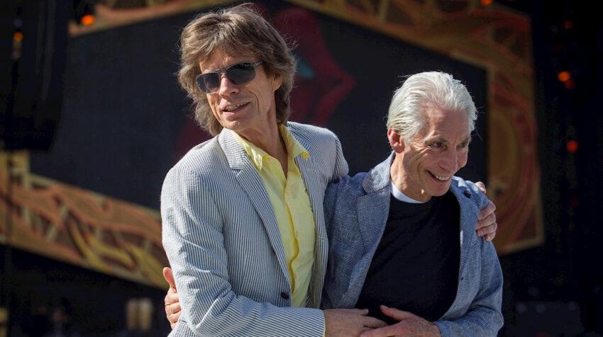 Mick Jagger (L) and Charlie Watts (R) en Australia,   23 de octubre de 2014