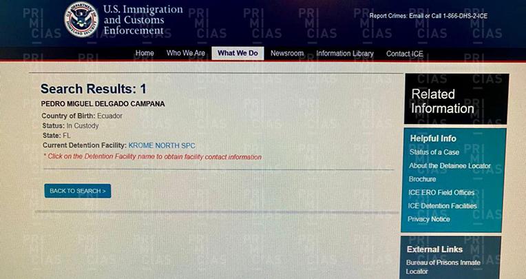 Información del Servicio de Control de Inmigración y Aduanas sobre la detención de Pedro Delgado en Estados Unidos, en agosto de 2021.