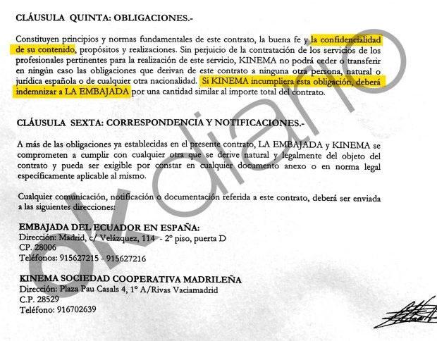 Facsímil del contrato entre la Embajada de Ecuador en España y la empresa Kinema.