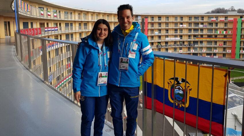 Sarah Escobar y Klaus Jungbluth durante los Juegos Olímpicos de la Juventud de Invierno, en enero de 2020 en Lausana, Suiza.