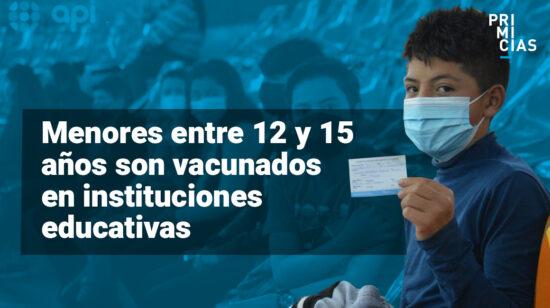 Vacunación menores entre 12 y 15 Ecuador
