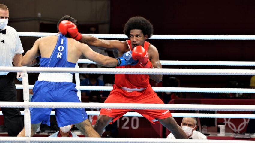 Julio Castillo, durante su única pelea en los Juegos de Tokio, el 27 de julio de 2021.