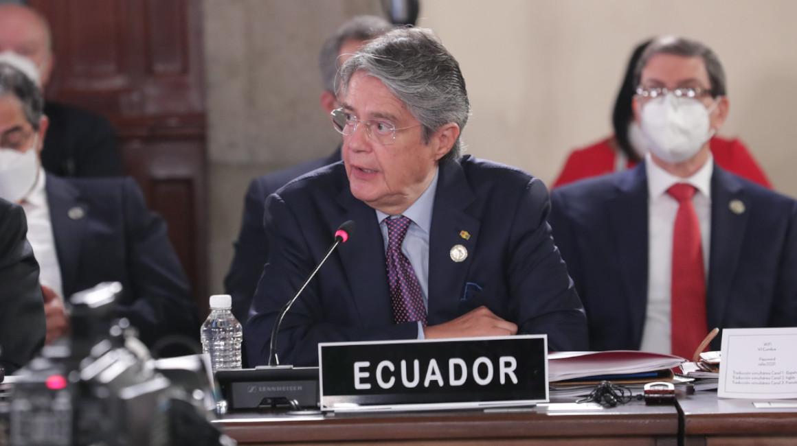El presidente Guillermo Lasso durante la sexta cumbre de jefes de Estado de la Comunidad de Estados Latinoamericanos y Caribeños (Celac), en México, el 18 de septiembre de 2021.