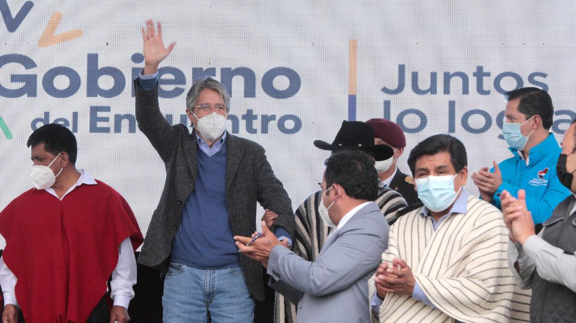 El presidente Guillermo Lasso en Guamote, Chimborazo, el 15 de septiembre de 2021.
