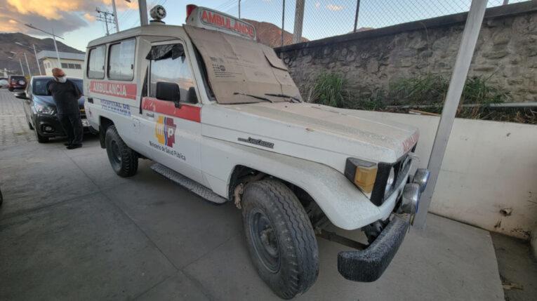Una de las ambulancias que opera en el Hospital Básico de Vilcabamba, en Loja, en febrero de 2021.