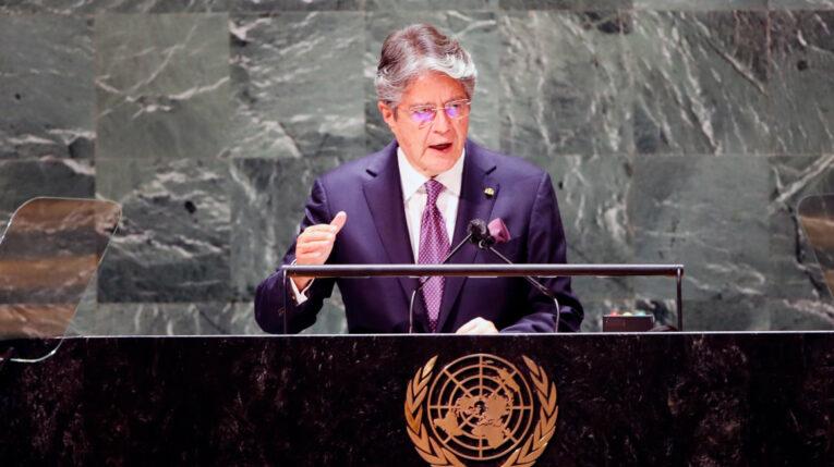 El presidente Guillermo Lasso habla durante la sesión 76 de la Organización de Naciones Unidas en Nueva York, el 21 de septiembre de 2021.