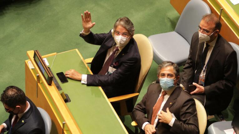 El presidente Guillermo Lasso durante su participación en la Asamblea General de las Naciones Unidas, el 21 de septiembre.