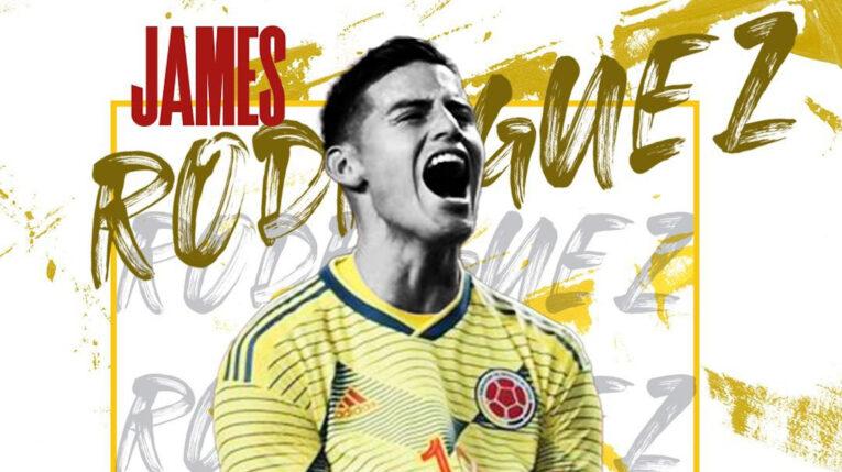 Arte del jugador colombiano, James Rodríguez, presentado por el Al Rayyán de Catar el miércoles 22 de septiembre de 2021.